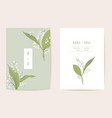 lily flowers watercolor wedding card vector image vector image