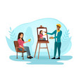 man artist standing at easel and painting woman vector image vector image