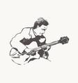 man playing guitar hand drawn vintage vector image