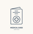 medical card flat line icon insurance vector image vector image
