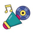 megaphone and vinyl music festival on white vector image vector image