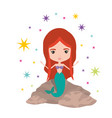 mermaid in a rock with colorful sparkles and stars vector image