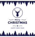 merry christmas and happy new year with reindeer vector image vector image