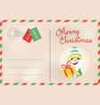 merry christmas retro elf holiday postcard vector image