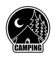 Night Camping logo Emblem for accommodation camp vector image