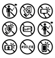 No selfies no selfie sticks signs vector image vector image