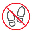 no shoes line icon prohibition and forbidden vector image