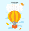 november calendar page with cute rat in air vector image vector image