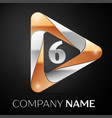 number six logo symbol in the colorful triangle on vector image vector image