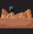 outer space surface landscape with planet vector image