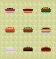 pie icons set delicious pies vector image vector image