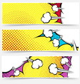 Pop art comic book yellow header collection vector image vector image