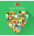 Poster with text I love fast food made in flat vector image vector image