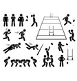 rugby player actions poses stick figure pictograph vector image