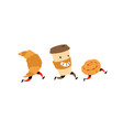 running snacks characters glass coffee vector image