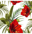 seamless pattern red lilies tropical ficus plant vector image vector image