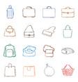 set color penciling sketch bags icons vector image vector image