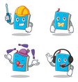 set of blue book character with automotive silent vector image vector image