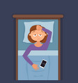 sleepless woman face cartoon character suffers vector image