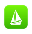 small yacht icon digital green vector image vector image