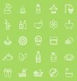 spa line icons on green background