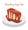 strawberry crepe cake on plate on white vector image