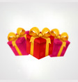 three presents light background with present vector image vector image