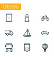 transport icons line style set with way monorail vector image vector image