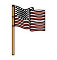 united states flag waving in pole color sections vector image vector image