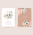 wedding dried anemone pampas grass roses floral vector image