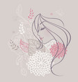 women profile flowers vector image vector image