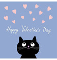 Hearts and cute cartoon cat Flat design style vector image