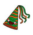 kawaii party hat decoration celebration cartoon vector image