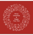Merry Christmas and Happy New Year wreath vector image