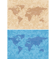 beige and blue grungy background with map vector image