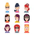 stylized beautiful young girls and women avatars vector image