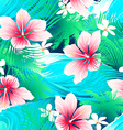 Tropical white hibiscus flowers with green leaves vector image
