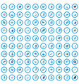 100 blue icons set isometric 3d style vector image vector image