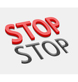 3d stop text design vector image vector image