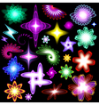 A set of neon shining brilliant design elements vector image vector image