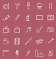 Art line icons on red background vector image vector image