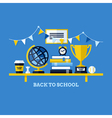 Back to school flat with desk and school supplies vector image