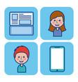 cartoon people laptop smartphone social media vector image vector image