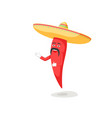 chili characters with mustache in sombrero vector image