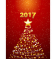 Christmas tree and 2017 background vector image vector image