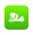 concrete mixer truck icon digital green vector image vector image