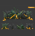 dark grass with gold ribbons 3d realistic icon set vector image vector image