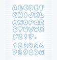 doodle alphabet drawn on page notebook vector image vector image