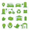 electric car green eco technology icons for vector image