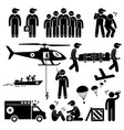 emergency rescue team stick figure pictogram vector image vector image
